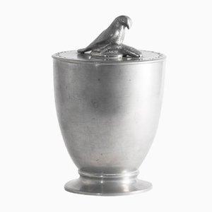 Vaso in peltro con coperchio a forma di falco di Estrid Ericson, 1925