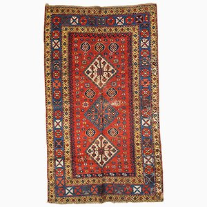 Handgemachter Antiker Kazak Teppich, 1860er