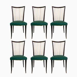 Mid-Century Italian Wood and Skai Dining Chairs, 1950s, Set of 6