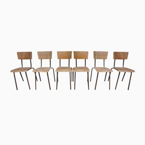 Mid-Century Stackable School Chairs from Tubax, 1976, Set of 6