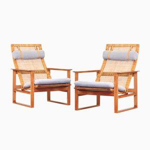 Chaises de Salon Vintage à Dossier Haut Grises par Børge Mogensen pour Fredericia, Set de 2