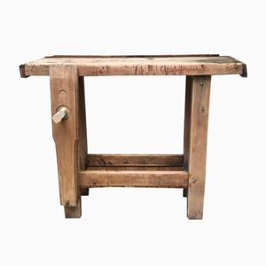 Vintage Wooden Work Bench Table