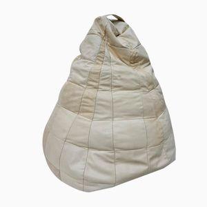 Geflickter Weißer Bean Bag aus Leder, 1970er