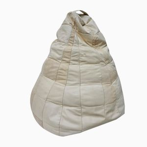 White Leather Patched Bean Bag, 1970s