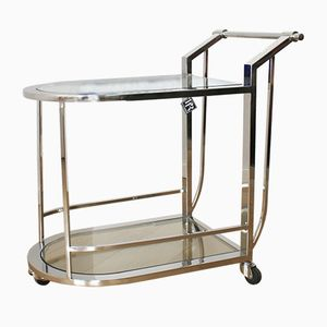 Vintage Chrome and Glass Bar Cart by Paul Rogiers