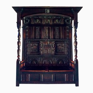 Antique Carved Oak Canopy Bench, 1640s