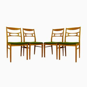 Vintage Swedish Upholstered Oak Chairs, 1960s, Set of 4