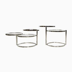 Chrome and Glass Round Coffee Tables, Set of 2