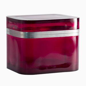 Box aus Zinn & Rotem Glas von Josef Frank für Svenskt Tenn, 1950er