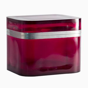 Red Glass and Pewter Box by Josef Frank for Svenskt Tenn, 1950s