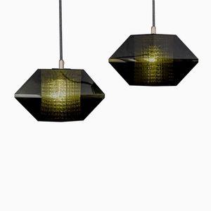 Lampes à Suspension Hexagon par Carl Fagerlund pour Orrefors, 1950s, Set de 2