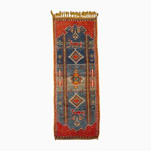 Vintage Moroccan Blue and Red Berber Rug