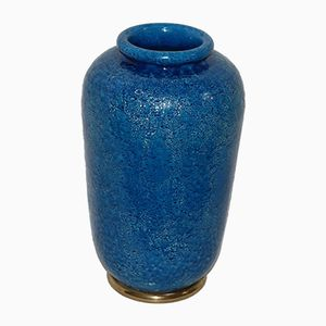 Blue Ceramic Vase by Aldo Londi for Bitossi, 1960s