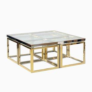 Table Basse Vintage Bicolore avec Tables Gigognes de Maison Charles