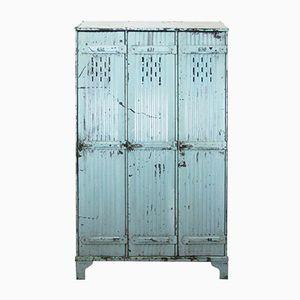Vintage Industrial 3-Door Blue Locker from Strafor