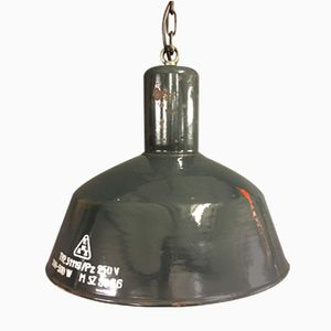 Large Vintage Dark Blue Enamel Factory Pendant Light
