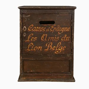 Antike Amis du Lion Belge Geldtruhe