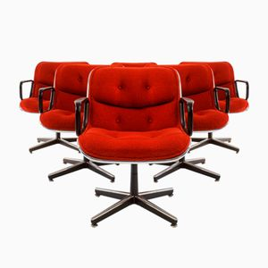 Vintage Executive Swivel Chairs by Charles Pollock for Knoll International, 1970s, Set of 6