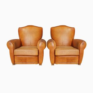 Vintage French Leather Club Chairs, 1950s, Set of 2