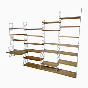 Large Wall Unit with 22 Shelves by Nisse Strinning for String, 1950s