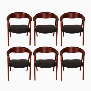 Vintage 52 Compass Teak Chairs by Erik Kirkegaard for Høng Stolefabrik, Set of 6