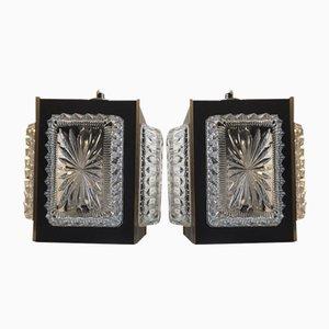 Mid-Century Austrian Crystal Pendant Chandeliers, 1950s, Set of 2