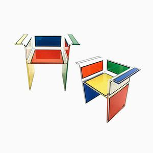 Colourful Plexiglas Chairs by Jean Charles de Castelbajac, 1979, Set of 2