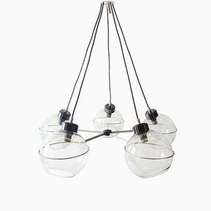 Glas Kronleuchter mit Kugelleuchten von Vico Magistretti, 1960er