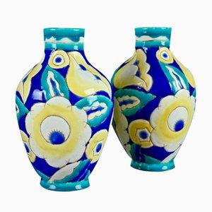 Vases Art Déco par Charles Catteau pour Boch Freres Keramis, 1932, Set de 2