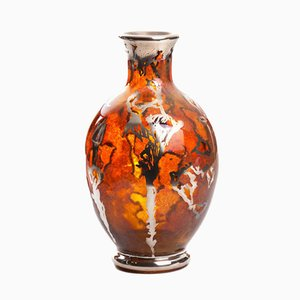 Kunstvolle Polnische Vintage Glasvase von Józefina Glasswork