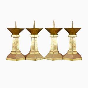 Große Art Deco Kirchen Kerzenständer, 1920er, 4er Set
