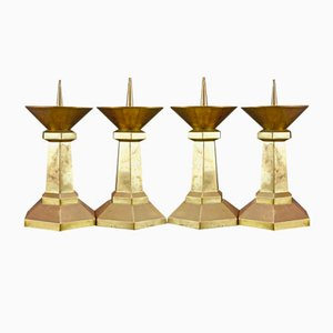 Large Art Deco Church Candlesticks, 1920s, Set of 4