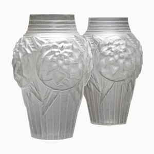 Art Deco Glass Vases from Müller Frères, 1920s, Set of 2