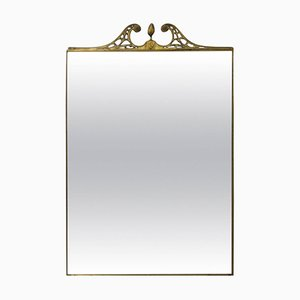 Large Italian Brass Framed Wall Mirror, 1950s