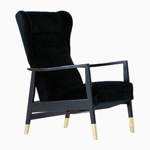 Mid-Century Velvet & Brass Armchair, 1950s