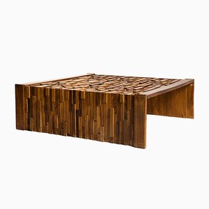 Large Brazilian Brutalist Jacaranda Wood Coffee Table by Percival Lafer