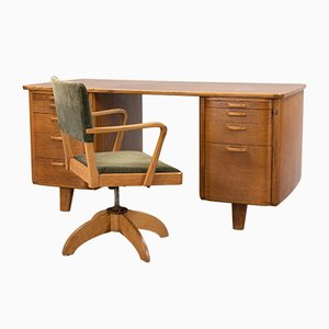 Swedish Art Deco Desk and Swivel Chair Set, 1930s