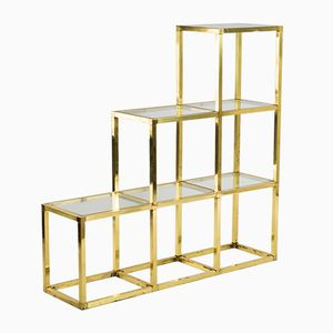 Italian Brass and Glass Shelf by Romeo Rega