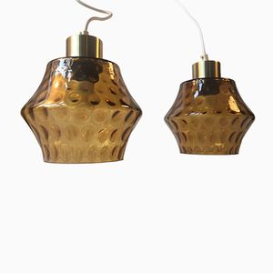 Danish Mid-Century Smoked Glass Pendant Lights from Vitrika, Set of 2