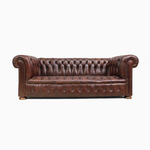Vintage Chesterfield Brown Leather Sofa, 1960s