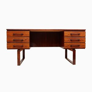 Mid-Century Rosewood Desk with Bookcase by Henning Jensen