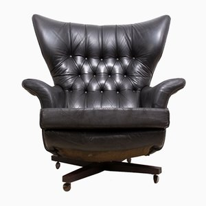 Mid-Century Black Leather 6250 Chair from G-plan