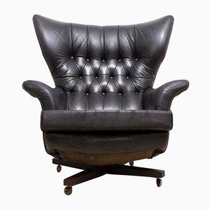 Sedia modello nr. 6250 Mid-Century in pelle nera di G-Plan