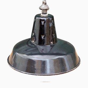 Französische Schwarze Industrielle Vintage Hängelampe