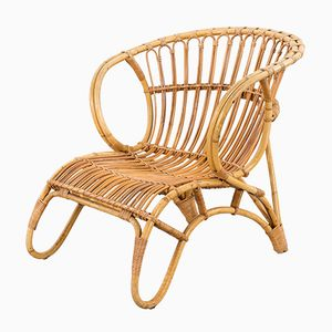 Dänischer Moderner Armlehnstuhl aus Bambus und Korbgeflecht