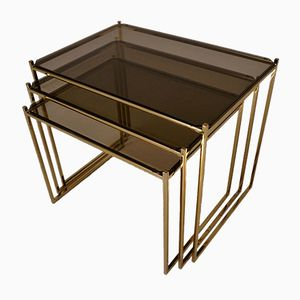 American Gold Plated & Smoked Glass Nesting Tables, 1970s
