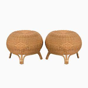 Tabourets Mid-Century en Rotin et Bambou, Scandinavie, Set de 2