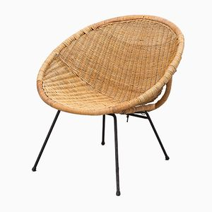 Scandinavian Modern Rattan Easy Chair