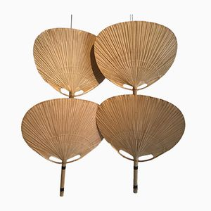 Uchiwa Bamboo Wall Lamps by Ingo Maurer, Set of 4