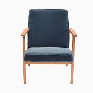 Mid-Century Polish Ocean Blue Armchair